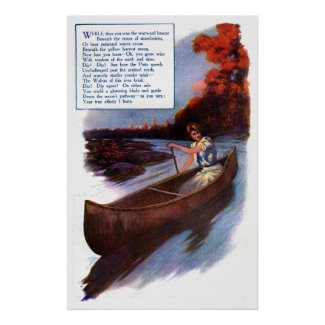 Lady Paddling Canoe Down Waterway Poster