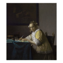 Lady Writing a Letter by Johannes Vermeer Posters