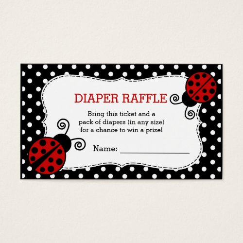 Ladybug Baby Shower Diaper Raffle Ticket