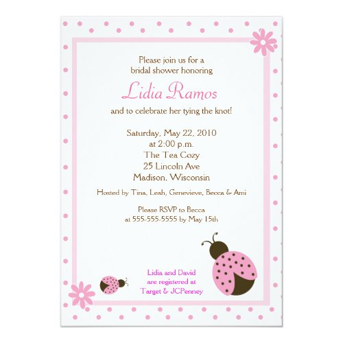 Ladybug Flower Dot 5x7 Bridal Shower Invite