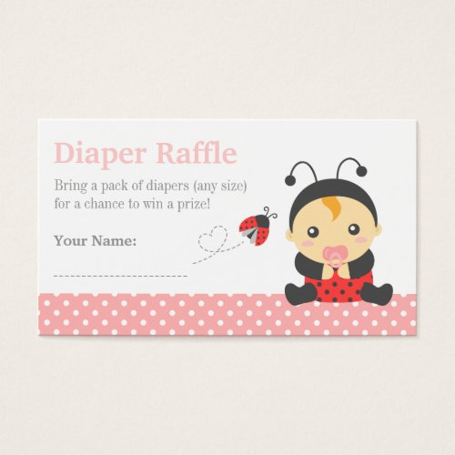 Ladybug Girl Baby Shower Diaper Raffle Tickets