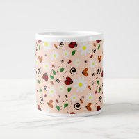 Ladybugs and Daisies in Peach Giant Coffee Mug