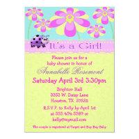 Ladybugs and Flowers Baby Shower Invitation