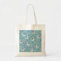 Lama and cactus pattern tote bag