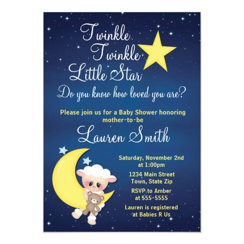 Lamb Baby Shower Invitation Twinkle Little Star