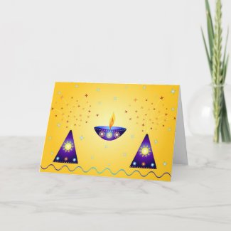 Lamp and fireworks - Card card