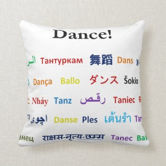 Language of Dance! Words for Dance Worldwide Pillow