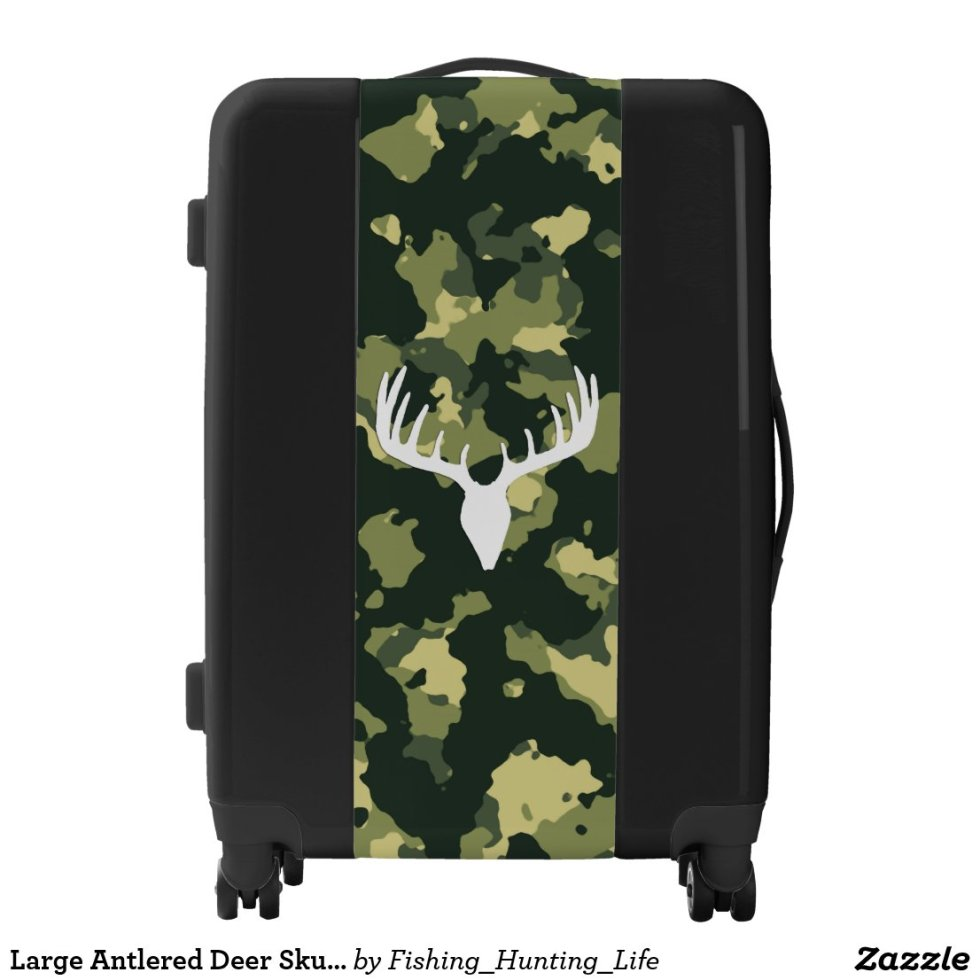 Large Antlered Deer Skull Wicked Hunting Luggage