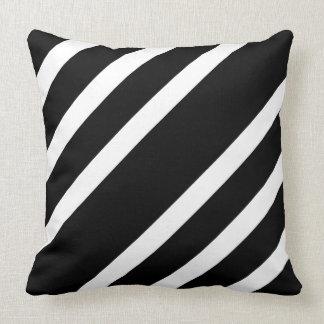 Black And White Diagonal Stripes Pillows Decorative Throw