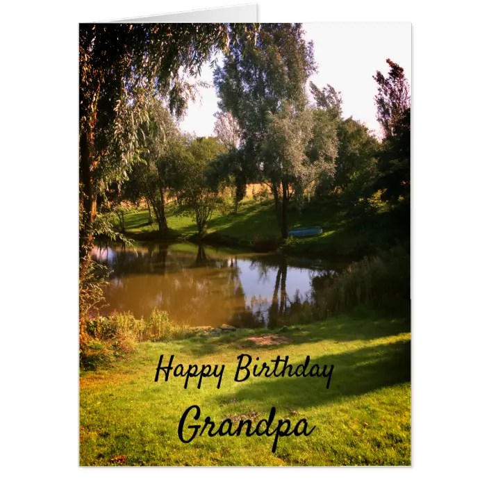 Large Country Scene Happy Birthday Grandpa Card Zazzle Com