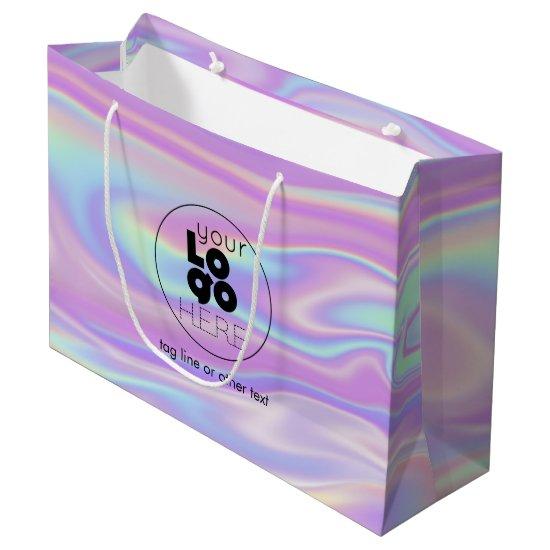 Large Custom Logo Iridescent Paper Shopping Bag