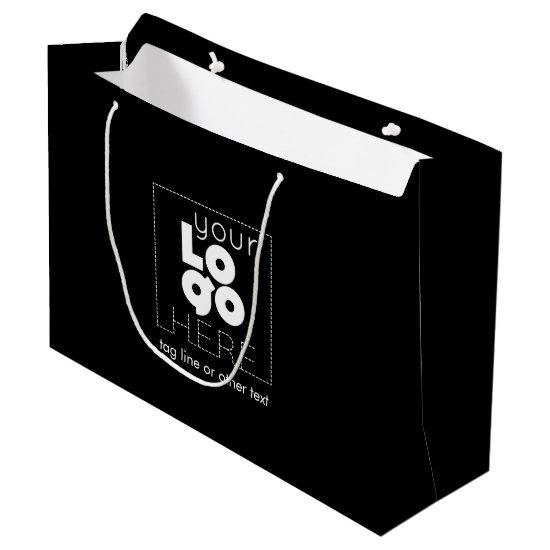Large Custom Paper Company Logo Black Shopping Bag
