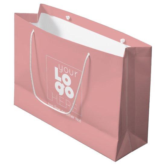 Large Custom Paper Company Logo Pink Shopping Bag