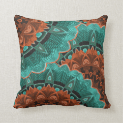 Large Flowery Teal Brown Orange Pattern Pillow