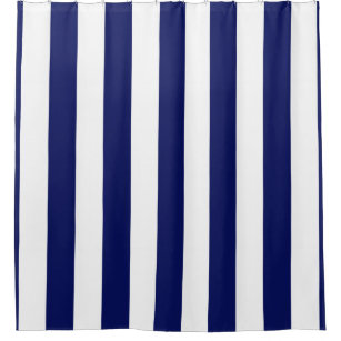 navy and white stripe shower curtains