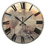 Large Sunrise Deer Clock w/ Roman Numerals