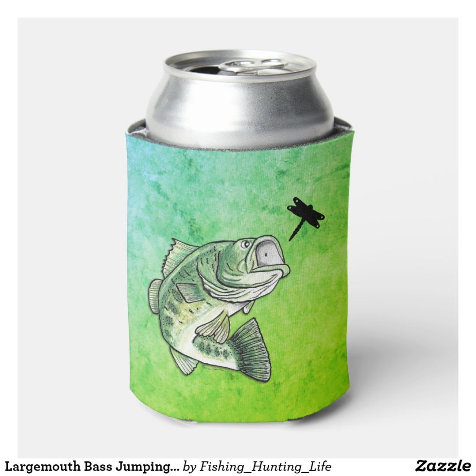 Largemouth Bass Jumping for Dragonfly Fishing Can Cooler