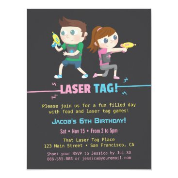 Laser Tag Game Kids Birthday Party Invitations