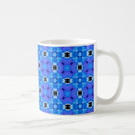 Lattice of Modern Blue Violet Floral Quilt Coffee Mug