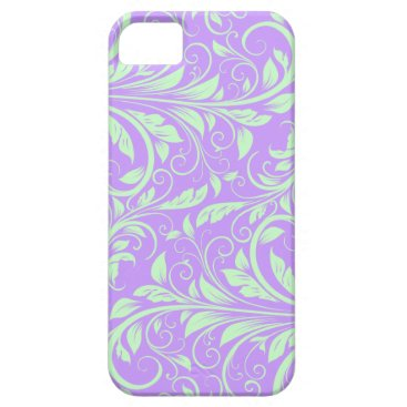Lavender and Pastel Green Floral Damask iPhone SE/5/5s Case