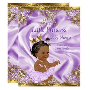 Lavender Gold Princess Baby Shower Ethnic Invitation