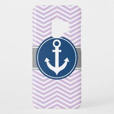 Lavender Nautical Anchor Chevron Case-Mate Samsung Galaxy S9 Case