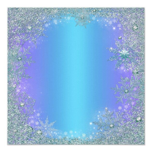 Lavender Purple Teal Blue Snowflake Christmas Card Zazzle