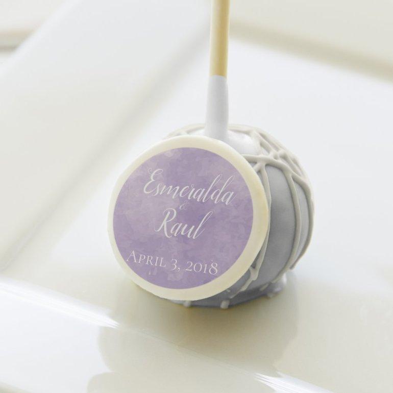 Lavender Watercolor Wedding Cake Pop