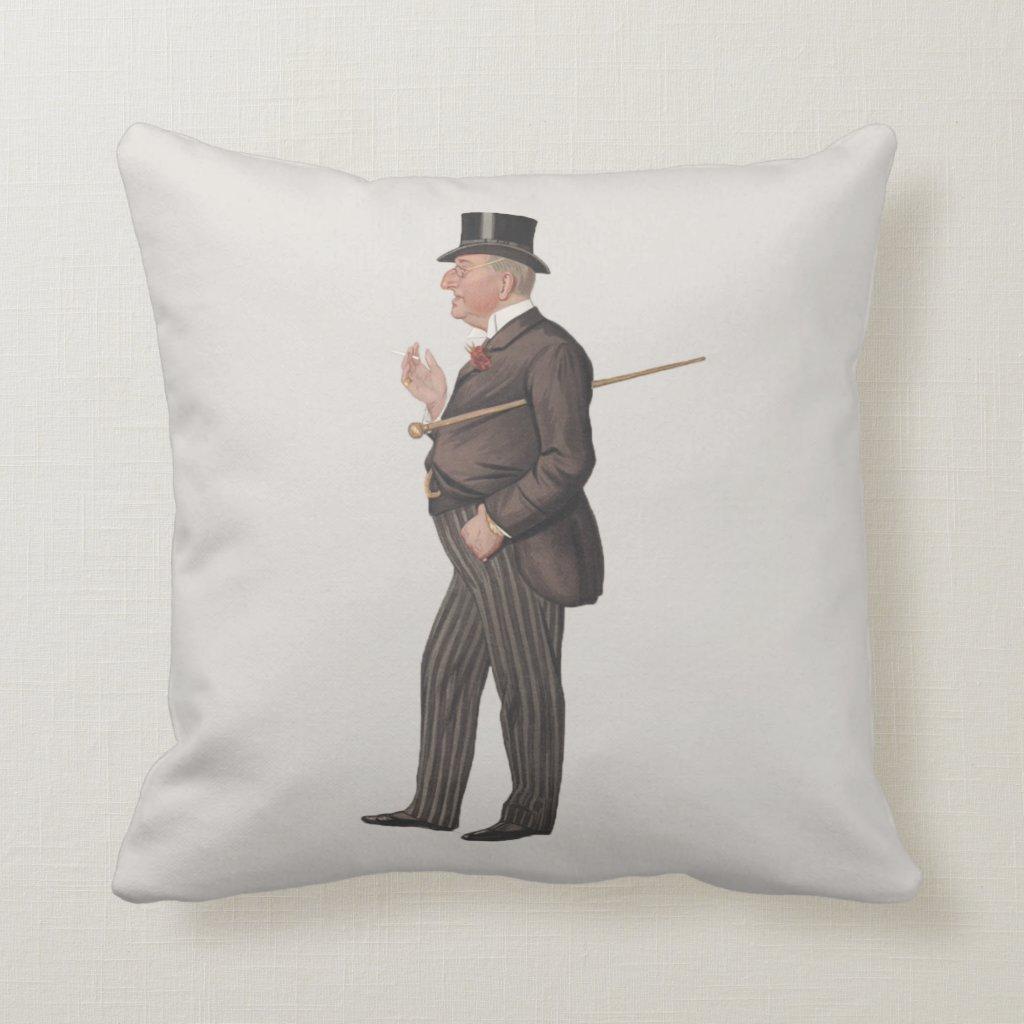 Lawyer Gentleman In Top Hat Pillow | Spy Prints