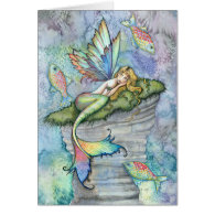 Leaping Carp Mermaid Greeting Card by Molly Harris