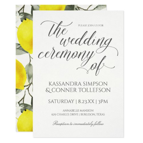 Lemon Branch Wedding Invitations | Vintage Yellow
