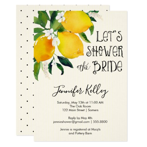 Lemon Bridal Shower, Let's Shower the Bride Card