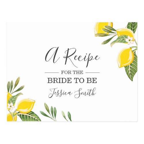 Lemon Bridal Shower Recipe Card Citrus Rustic Boho