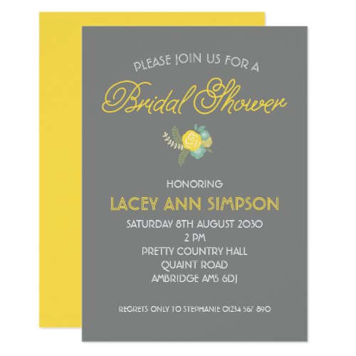 Lemon Floral Bouquet Bridal Shower Invite