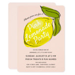 Lemon Pale Pink Lemonade Birthday Party Invitation
