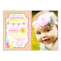 Lemonade 1st Birthday Party Photo Lemonade Party Card