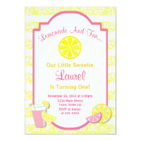 Lemonade Birthday Invitation Pink Lemonade