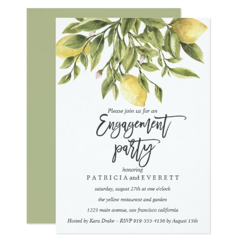 Lemons and Foliage Wedding Engagement Party v3 Invitation