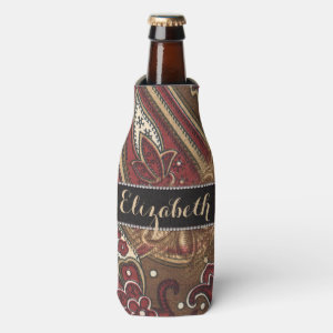 Leopard and Paisley Pattern Print to Personalize Bottle Cooler