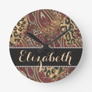 Leopard and Paisley Pattern Print to Personalize Wall Clock