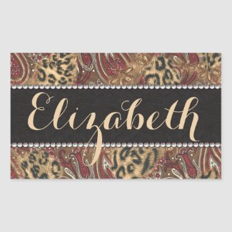 Leopard and Paisley Pattern Print to Personalize Stickers