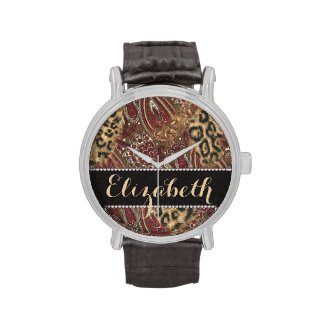 Leopard and Paisley Pattern Print to Personalize Wristwatches