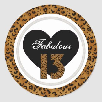 Leopard: Fabulous 13 Birthday Stickers