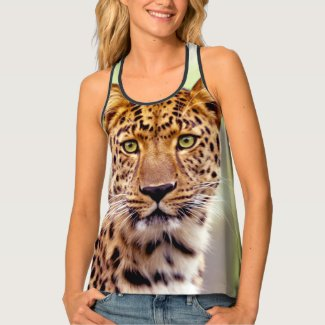 Leopard Face Photograph Tank Top