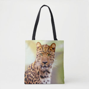 Leopard Face Photograph Tote Bag