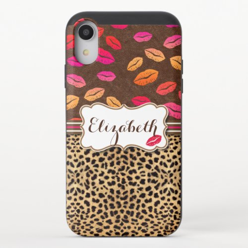 Leopard Lips Kisses Personalized iPhone XR Slider Case