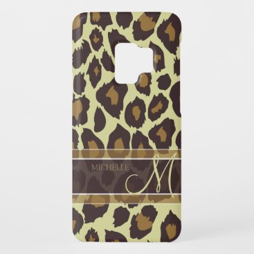 Leopard Pattern - Brown and Tan with Monogram Case-Mate Samsung Galaxy S9 Case