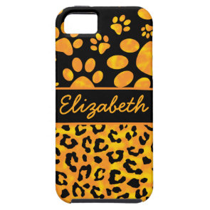 Leopard Print and Paws Orange Yellow Personalized iPhone 5/5S Cover