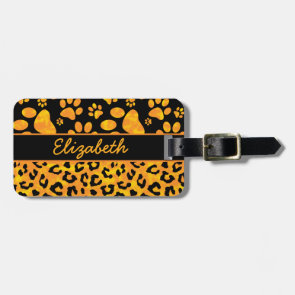 Leopard Print and Paws Orange Yellow Personalized Luggage Tag