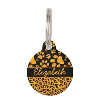 Leopard Print and Paws Orange Yellow Personalized Pet Tag